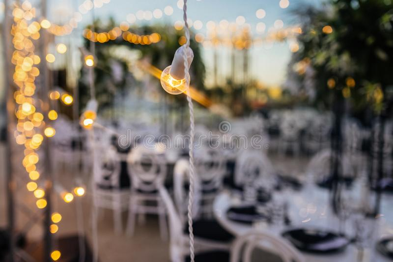 Wedding String Lights. Close up of Wedding String Lights royalty free stock images
