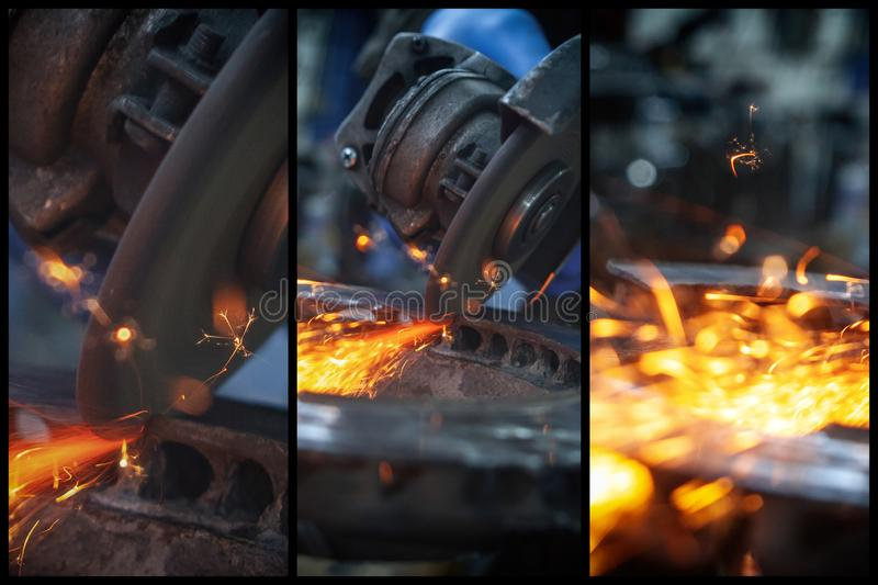 A close-up the welder cuts the metal royalty free stock photos