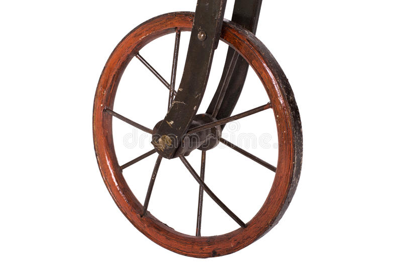 Close up on wheel of a historical bicycle stock images