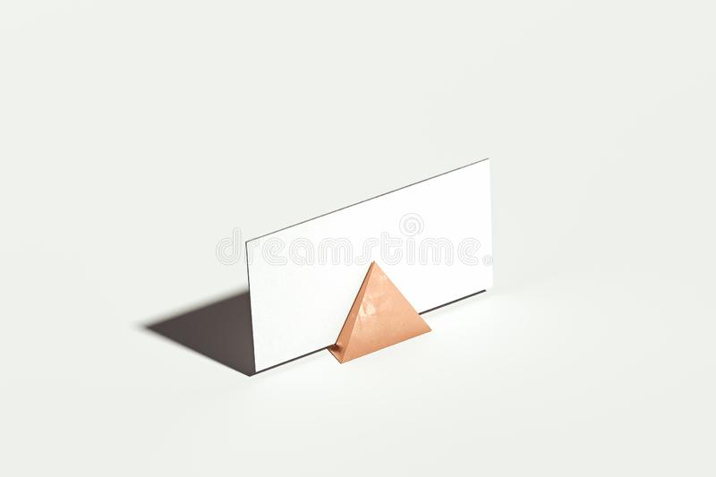 Close up of white blank business card with holder on white background, 3d rendering. stock illustration