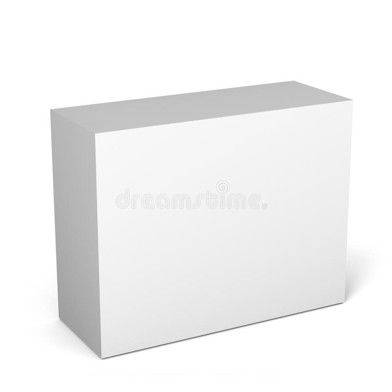 Close up of a white box template on white background.3D Illustration. Close up of a white box template on white background for packaging mock up.3D Illustration vector illustration