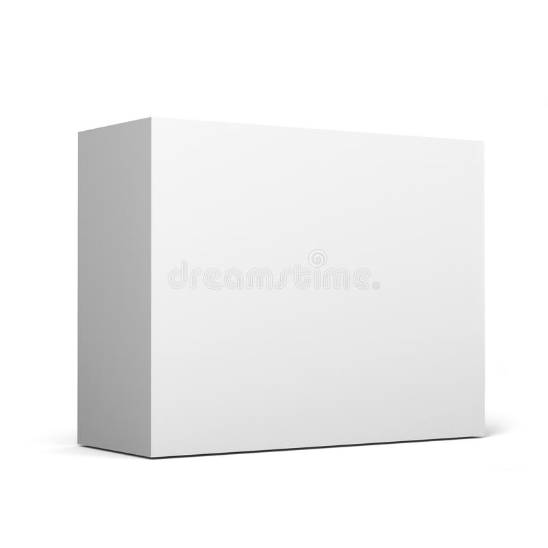 Close up of a white box template on white background.3D Illustration. Close up of a white box template on white background for packaging mock up.3D Illustration stock illustration