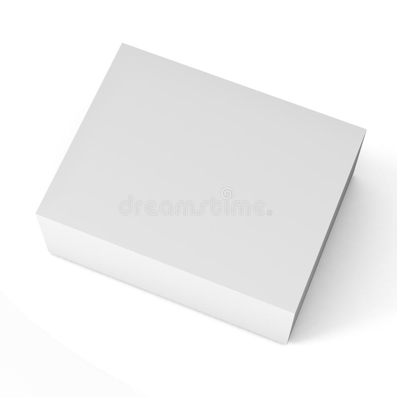 Close up of a white box template on white background Illustration royalty free illustration