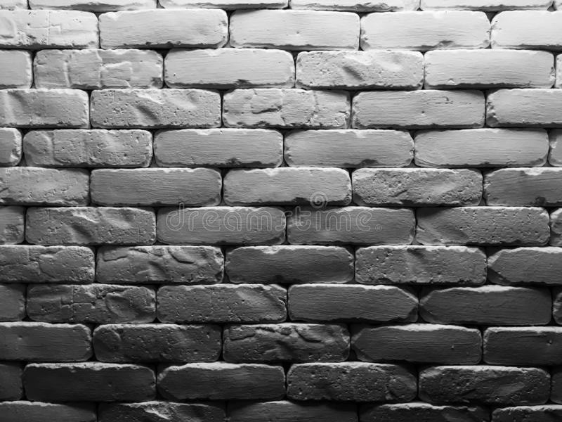 Close up of white Brick wall pattern texture background  With light and shadow stock photo