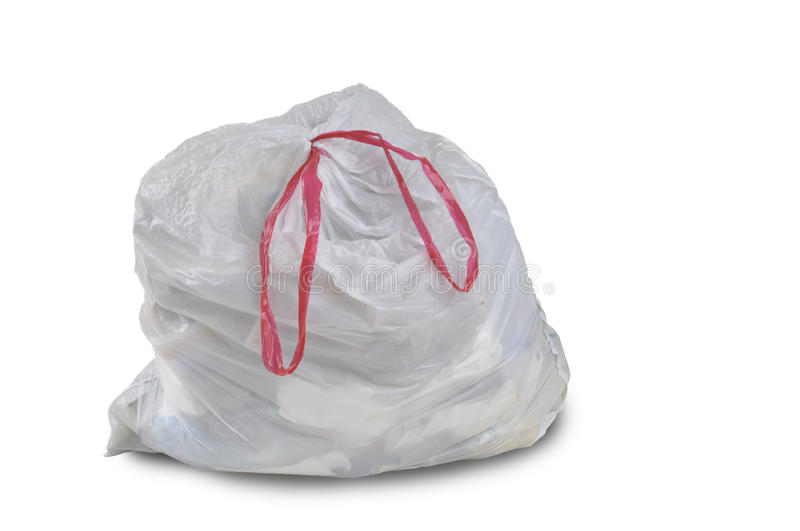 A close up of a white garbage trash bag royalty free stock photo