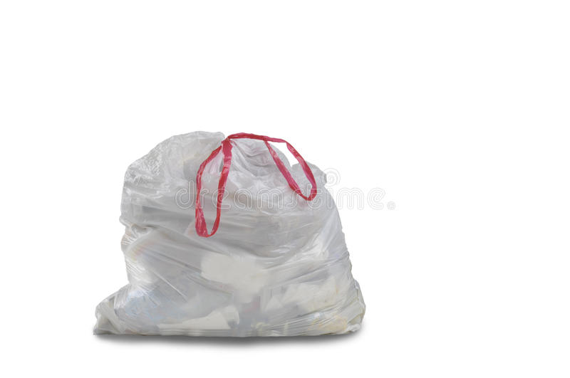 Download A Close Up Of A White Garbage Trash Bag Stock Image - Image: 32622583