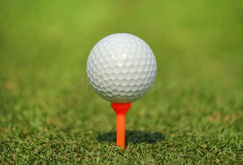 Close up white golf ball on orange tee at green grass stock photo