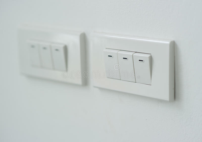Close up White light switch. White light switch, turn on or turn off the lights stock photography
