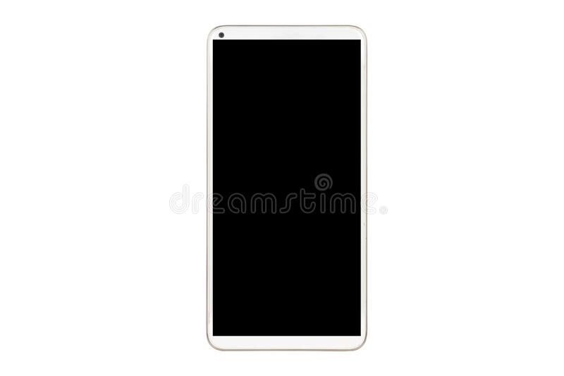 Close-up white mobile phone with blank black screen on white background with cipping path. Hand holding isolated smart technology communication iphone cellphone royalty free stock images