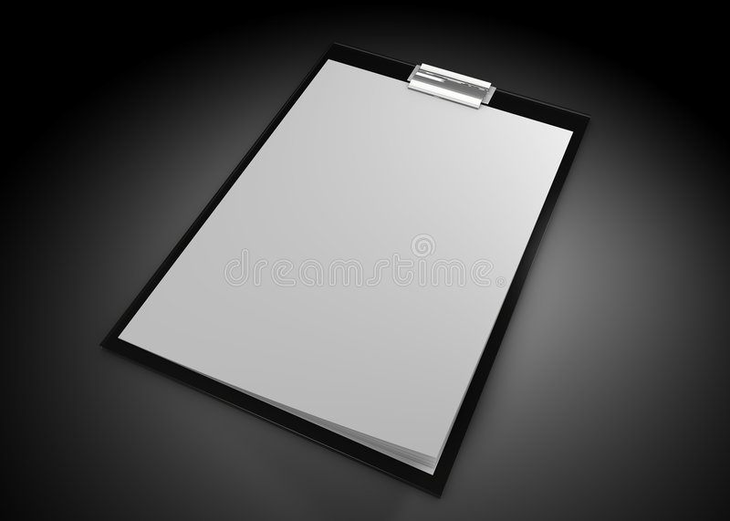 Close up of white note pad. Reminder on black background stock illustration