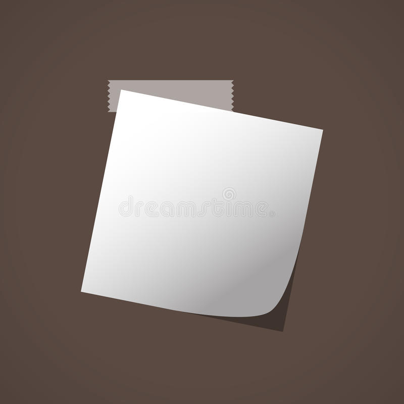 Close up of white note paper reminder on brown background. Vector illustration stock illustration