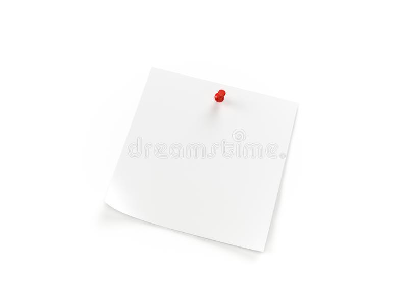 Close up of a white note paper on white background with clipping path,3d rendering. Close up of a white note paper on white background with clipping path.3d royalty free illustration
