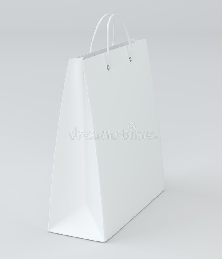 Close up of a white paper bag on white background with clipping path. 3d rendering.  stock illustration