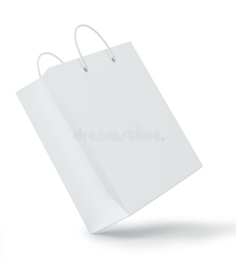 Close up of a white paper bag on white background with clipping path. Isolated on white background. 3d rendering.  stock illustration