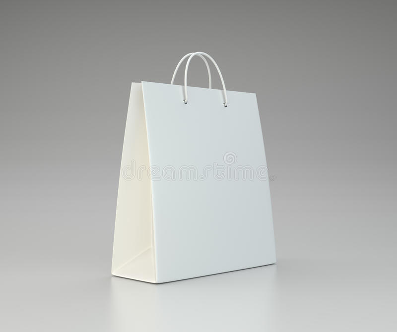 Close up of a white paper bag. 3d rendering royalty free illustration