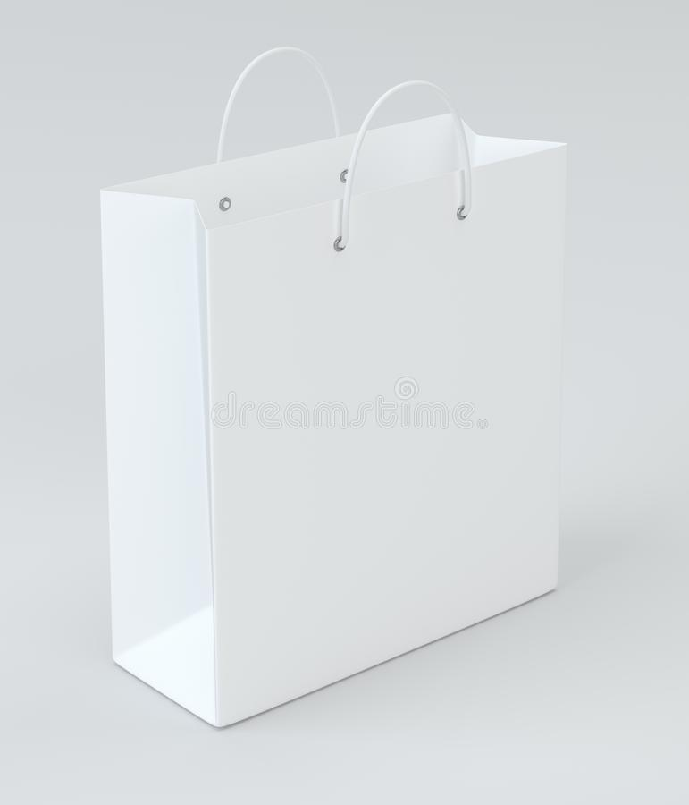Close up of a white paper bag on white background with clipping path. 3d rendering.  royalty free illustration