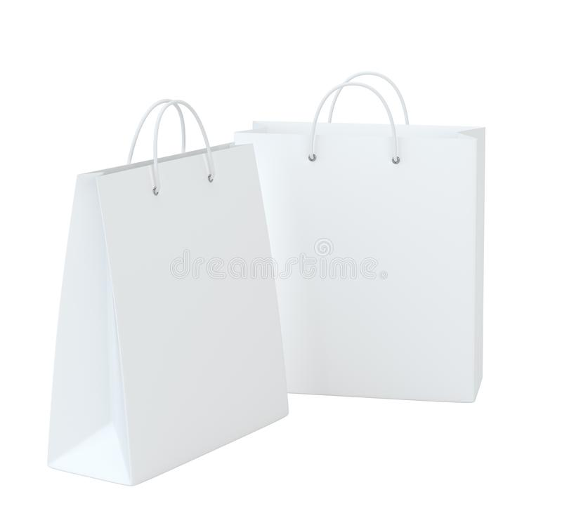Close up of a white paper bag on white background with clipping path. Isolated on white background. 3d rendering.  vector illustration