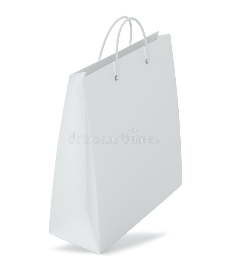 Close up of a white paper bag on white background with clipping path. Isolated on white background. 3d rendering.  royalty free illustration