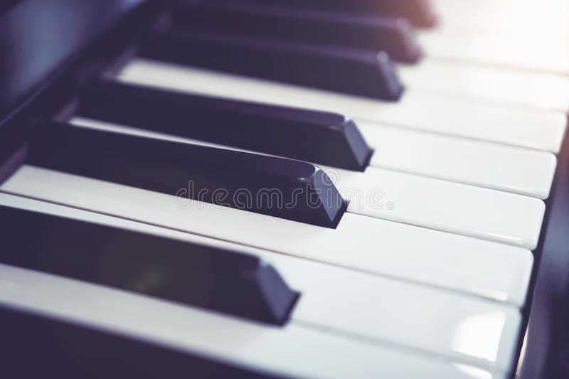 Close up white Piano key, Used for music graphics. stock image