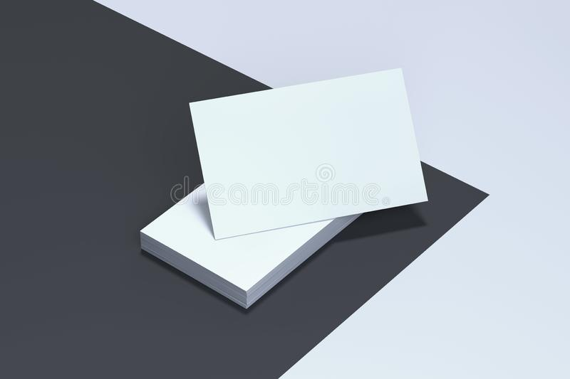 Close up of white business cards set on monochrome background, 3d rendering. vector illustration