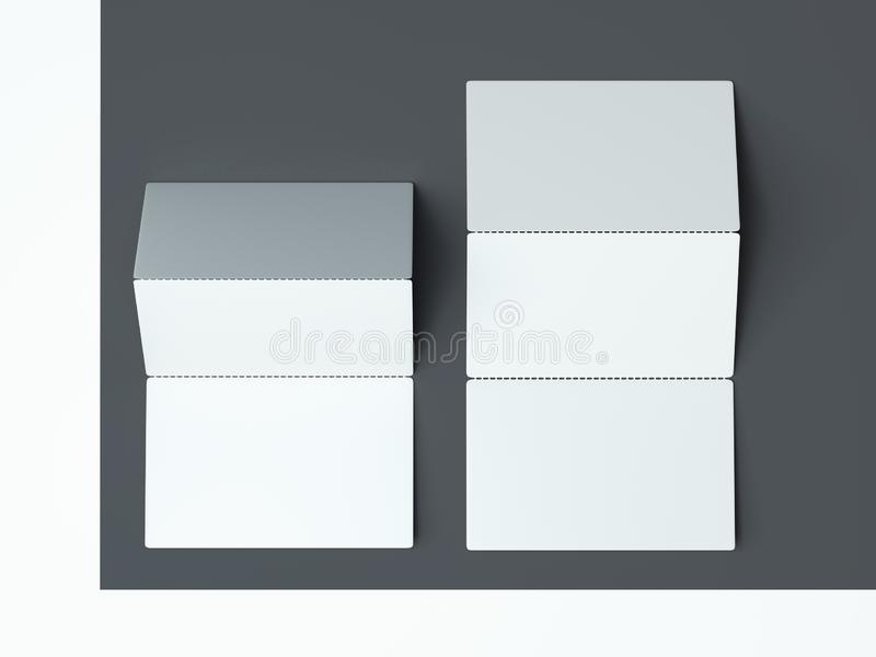 Close up of white business cards set on monochrome background, 3d rendering. stock illustration