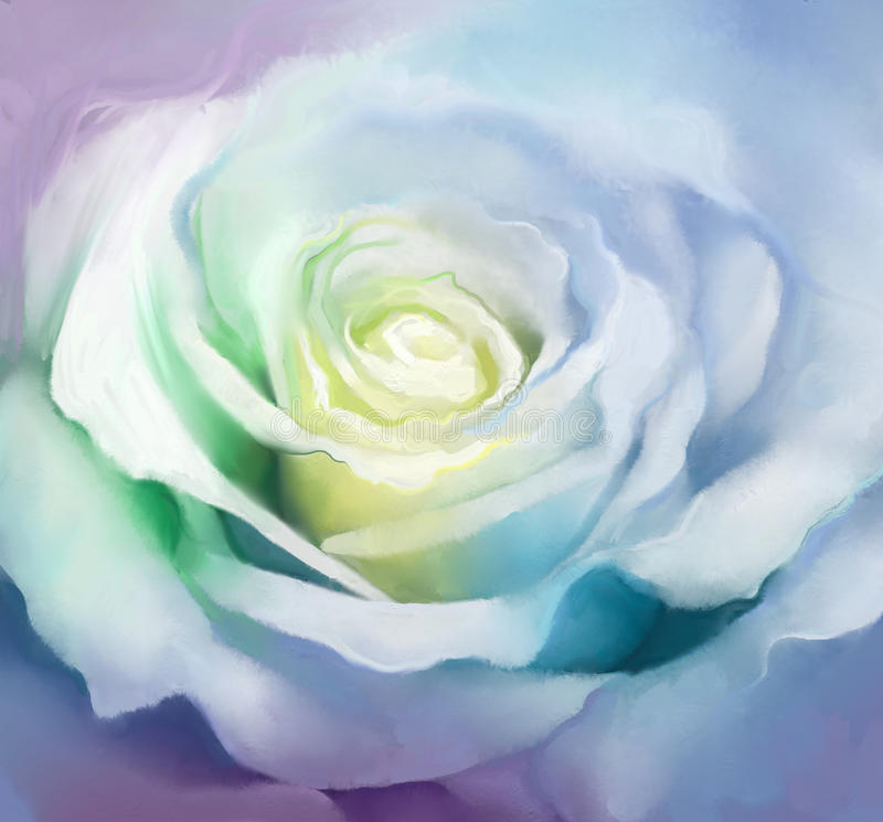 Close up of white rose petals. Oil painting flower vector illustration