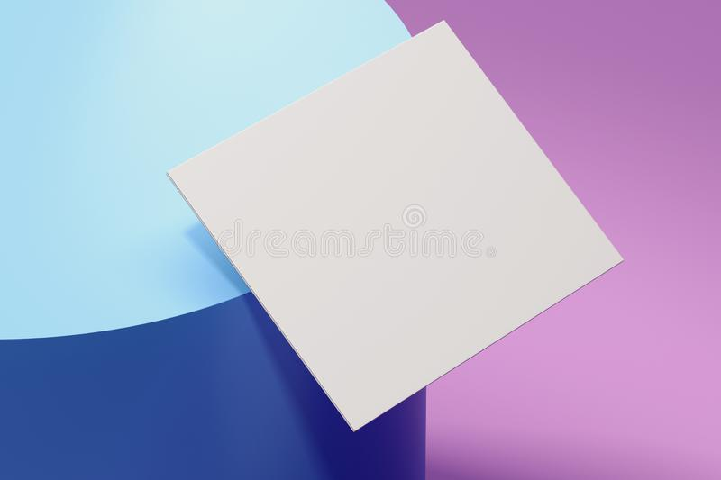 Close up of white sheet of paper on multicoloredbackground, 3d rendering. Close up of white sheet of paper on multicolored pastel background, 3d rendering stock illustration