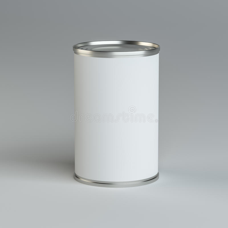 Close-up white tin can. 3d illustration. Mockup template royalty free illustration