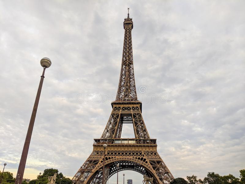 Close up wide of the Eiffel Tower in Paris France stock photo