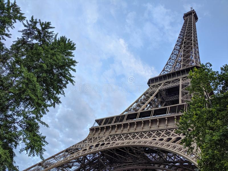 Close up wide view of the Eiffel Tower in Paris France royalty free stock photo