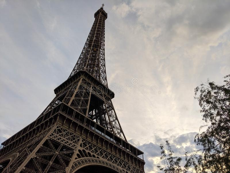 Close up wide view of the Eiffel Tower in Paris France stock photography