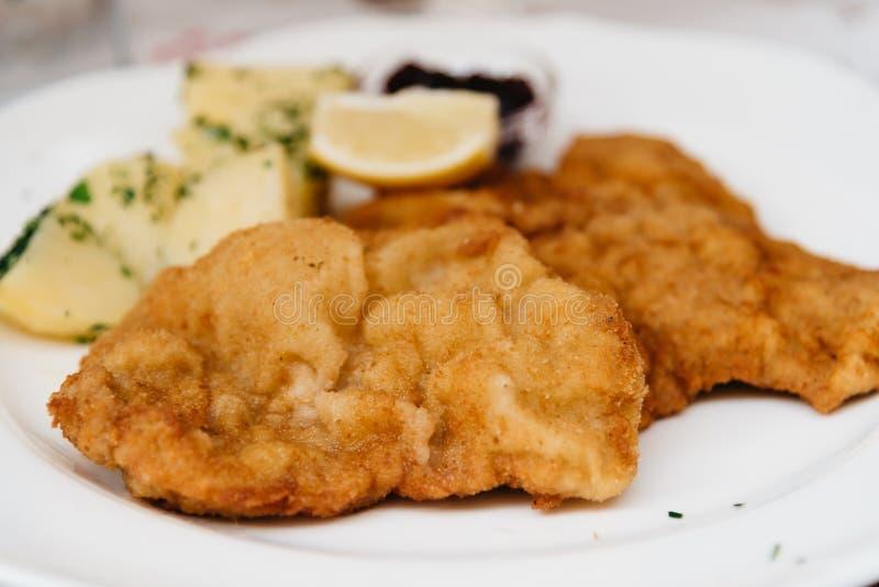 Close up of Wiener schnitzel royalty free stock photos