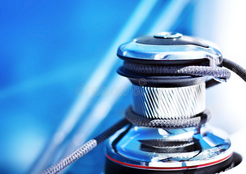 Download Close up on winch of yacht stock photo. Image of cord - 23075656