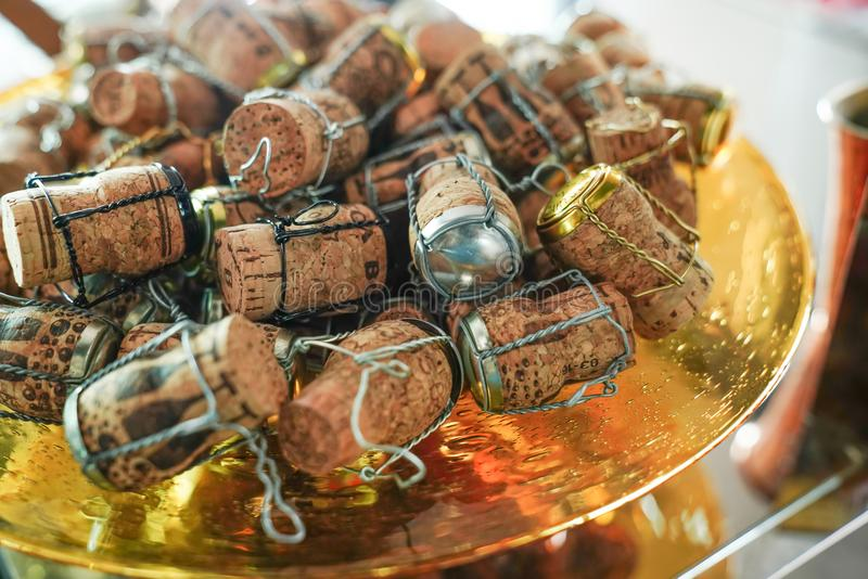 Close up of wine corks on a dish they are small round object made of cork stock photos