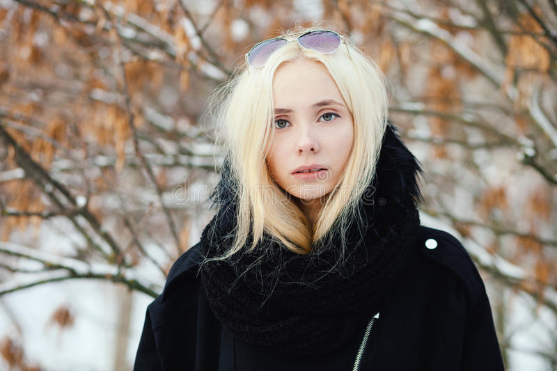 Close up winter portrait: young blonde woman dressed in a warm woolen jacket posing outside in a snowy city park with foliage back stock image