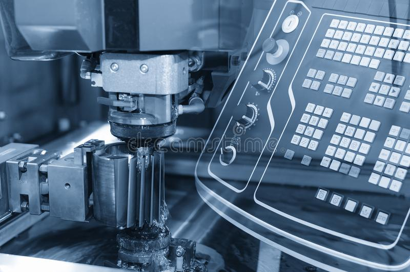 Close-up of the wire - EDM CNC machine stock photo