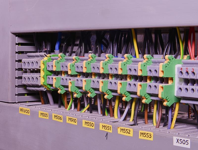 close up wiring connectors or terminal block for industrial rh dreamstime com industrial electrical wiring industrial electrical wiring books