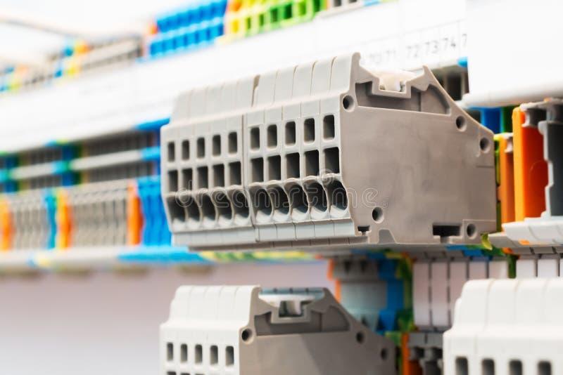 Close up wiring connectors, terminal blocks. stock photo