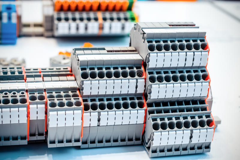 Close Up Wiring Connectors, Terminal Blocks. Stock Image - Image of ...