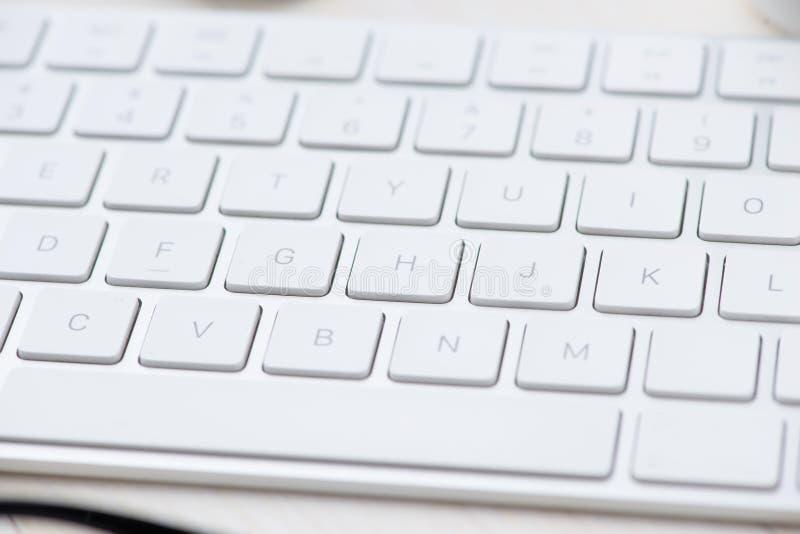 close-up Witte sleutels van Toetsenbord van een computer stock afbeelding