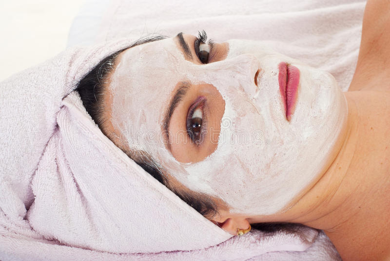Close Up Of Wman With Facial Mask Stock Image