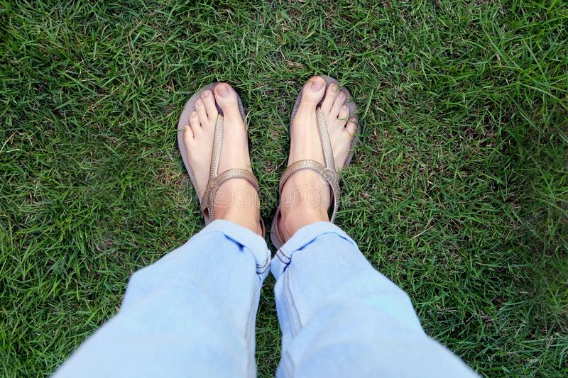 Close Up Woman's Legs and Feet Wearing Flip Flops on the Green Grass Background. Great for Any Use stock images