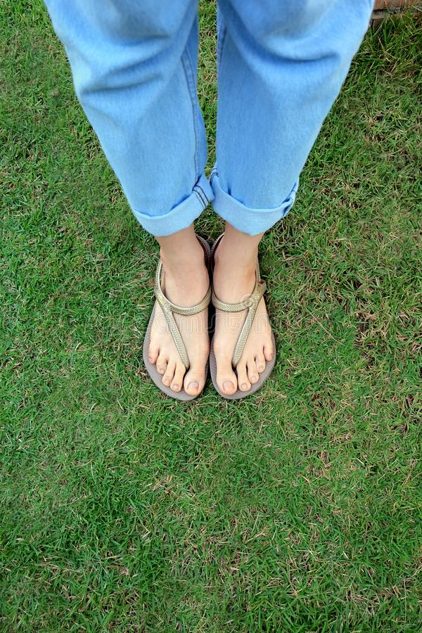 Close Up Woman's Legs and Feet Wearing Flip Flops on the Green Grass Background. Great for Any Use stock photo