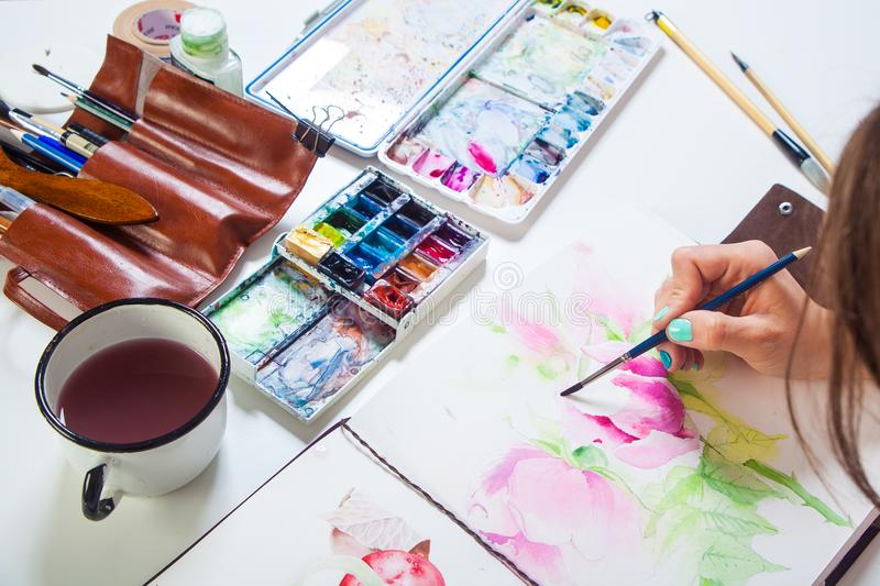 Close-up artist paints royalty free stock photography