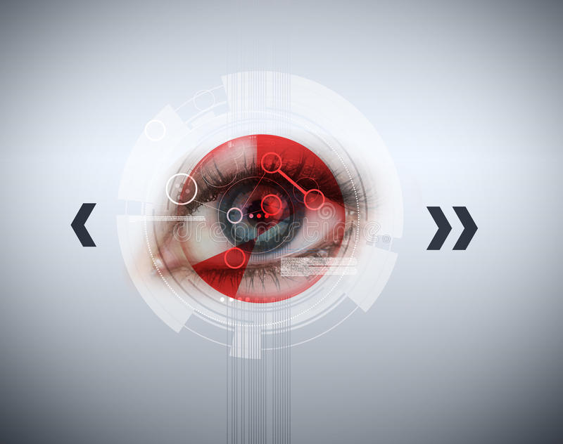 Close up of woman blue eye with red analysis. And arrows around stock photography