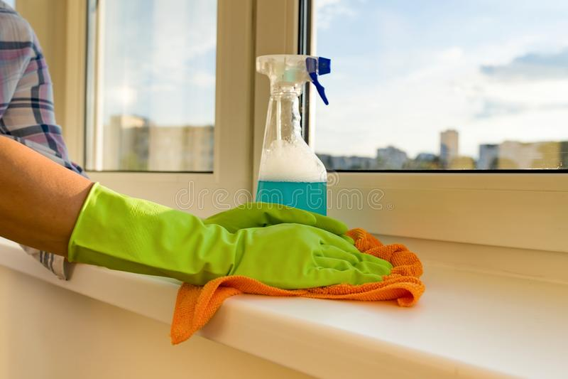 Close-up of woman cleaning windows, hands in rubber protective gloves, rag and sprayer detergent. royalty free stock photography