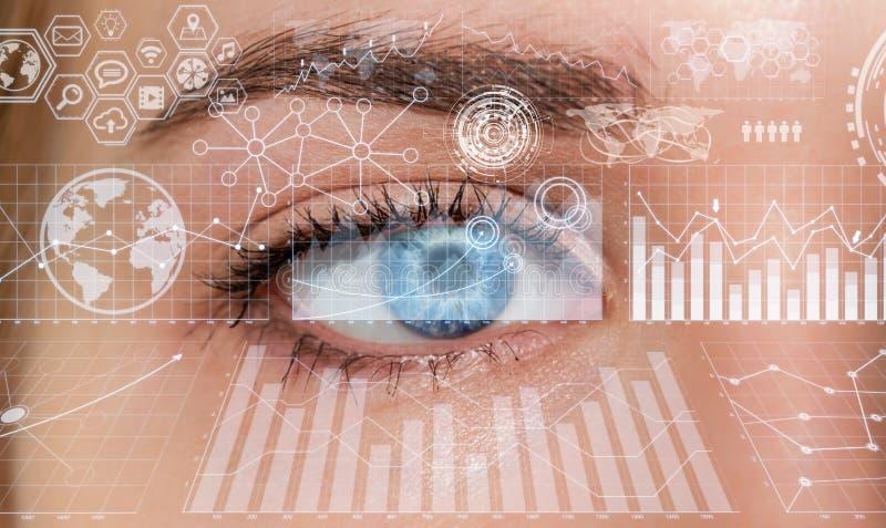 Close Up Of Woman Digital Eye 3d Rendering Stock Illustration