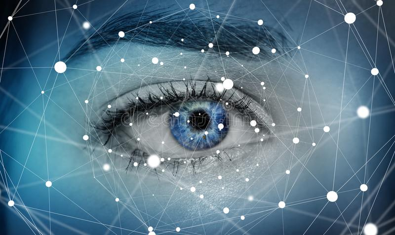 Close-up of woman digital eye network concept 3D rendering. Close-up of woman digital eye with dot network flying through 3D rendering stock illustration