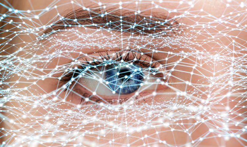 Close-up of woman digital eye network concept 3D rendering. Close-up of woman digital eye with dot network flying through 3D rendering royalty free illustration