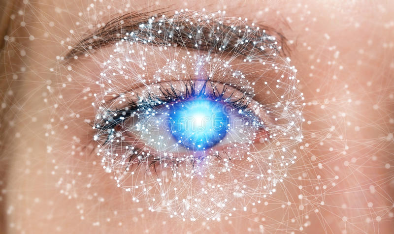 Close-up of woman digital eye network concept 3D rendering. Close-up of woman digital eye with dot network flying through 3D rendering vector illustration